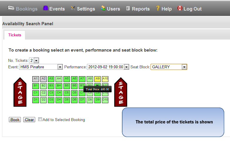 Availability Search showing intelligent seat picker